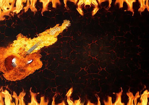 Guitar, Fire, Lava, Burns, Electro Guitar, Instrument