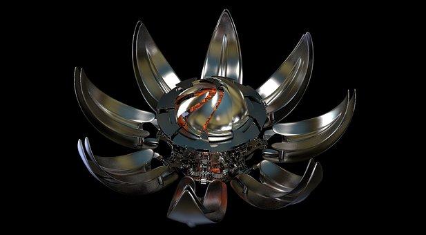 Metal, Flourished, Mechanics, Metallic, Chrome, Steel