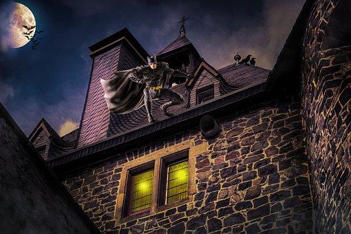 Architecture, Old, Building, Fantasy, Bat Man