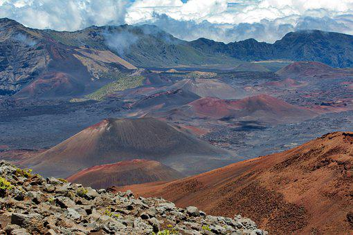 Haleakala, Crater, Maui, Hawaii, Mountain, Landscape