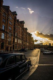 Hamburg, Oldtimer, British, Speicherstadt