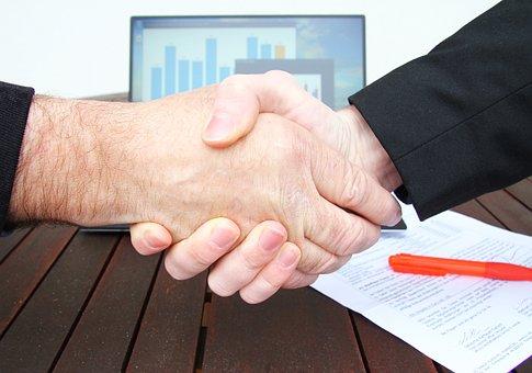 Company, Shaking Hands, Businessman, Handshake, Tablet