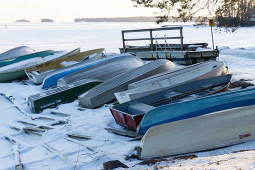 Winter, Outdoors, Sea, Snow, Frost, Coast, Boat, Boats
