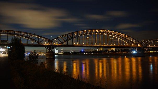 Bridge, River, Waters, City, Architecture, Cologne