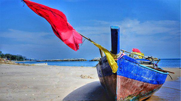 Fishing, Boat, Wooden, Blue, Brown, Red, Flag, Net