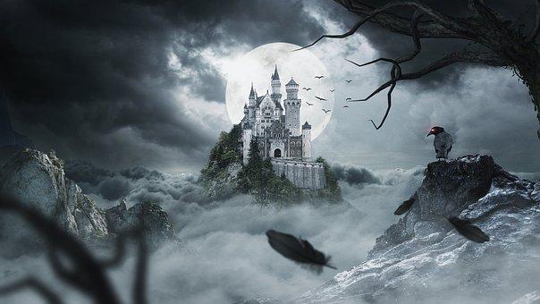Night, Castle, Crow, Fantasy, Cloud, Moon, Moonlight