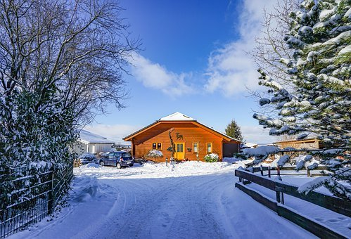 Vacation, Winter House, Snow, Winter, Wood, Tree, Cold