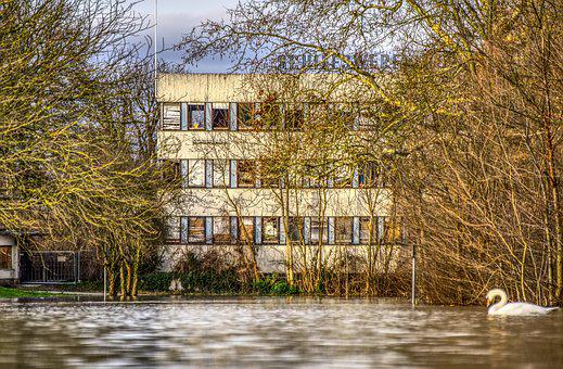 High Water, Flooding, River, Flow, Shipyard, Leave