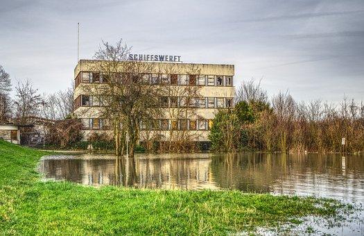 High Water, Flooding, River, Flow, Shipyard, Leave