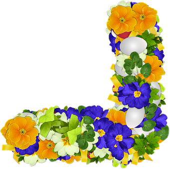 Flowers, Primroses, Png, Corner, Egg, Easter, Colors