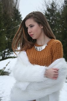 Girl, Hair In The Wind, Yellow, White, Snow