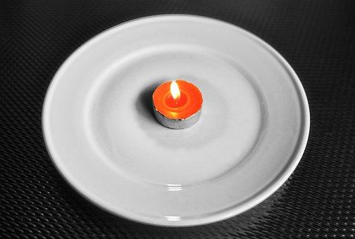 Tea Light, Tea, Flame, Hot, Plate, White Plate