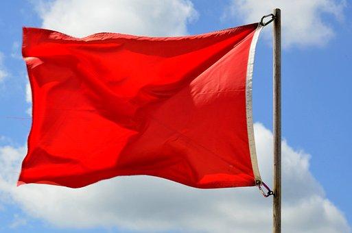 Red Flag, Warning, Beach, Ocean, Lifeguard, Safety