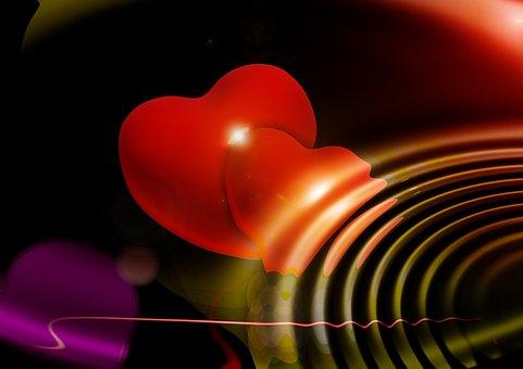 Heart, Wave, Rays, Swim, Loop, Gift, Love, Luck