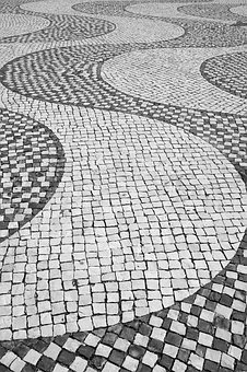 Mosaic, Stone, Pattern, Wave, Cobblestone, Portugal