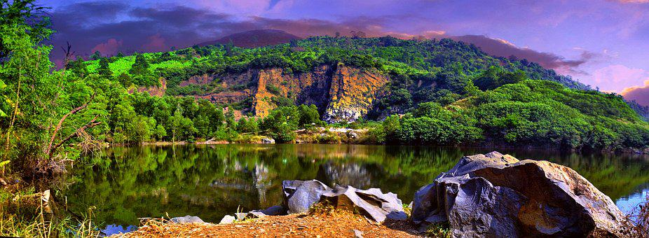 Natural, Lake, Mountain, Rock, Soi Ball, Scenery