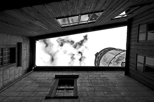 Monochrome, Window, Architecture, People