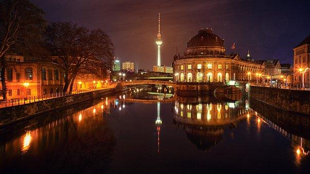 Illuminated, Evening, Reflection, Waters, Berlin, River