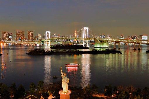 Tokyo, Bridge, Rainbow Bridge, Japan, Skyline