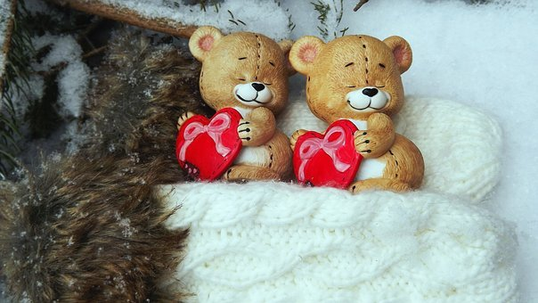 Toy, Bears, Winter, Snow, Gloves