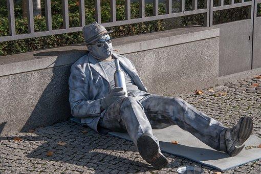Portrait, Man, Sit, Urban, Street Art, Berlin