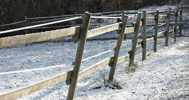 Pasture Fence, Snow, Coupling, Paddock, Winter, Nature