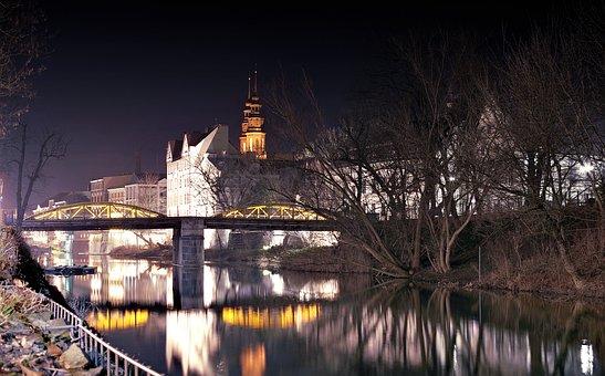 Bridge, River, City, Townhouses, Opole, Architecture