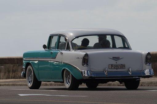 Cuba, Havana, Car, Classic, Chevy, Malecon, Almendron