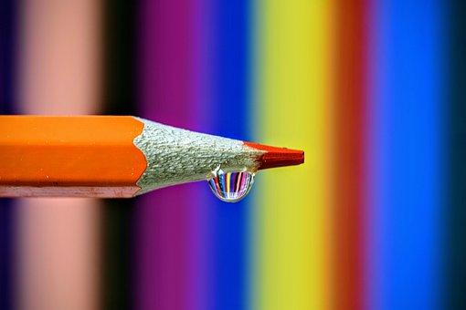 Crayons, Color, Macro, Drop