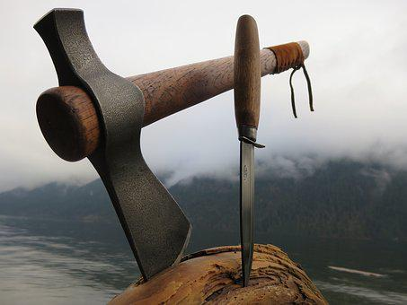 Tomahawk, Knife, Wood Block, Tools, Cut, Chop, Aged