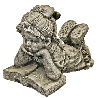 Girl, Read, Dreams, Book, Figure, Lying, Ceramic