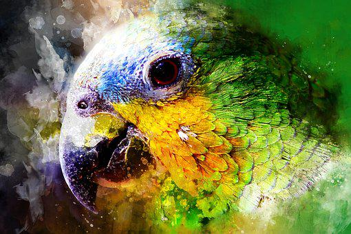 Parrot, Watercolor, Green, Yellow, Jungle, Colorful