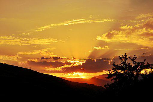 Sunset, Dawn, Solar, Nature, Landscape, Kaçkars