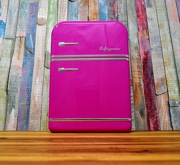Refrigerator, Pink, Powerful, Box, Storage, Cookie Jar