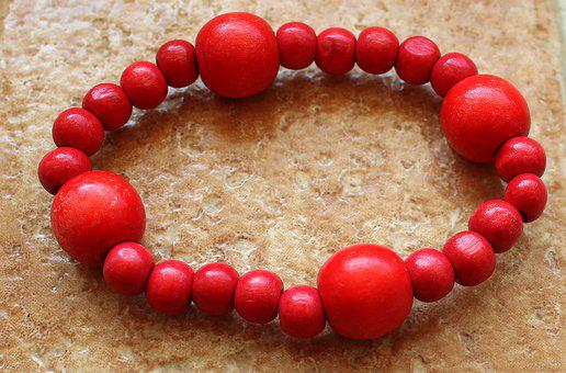 Beads, Wooden, Red, Bracelet, String, Red Coral