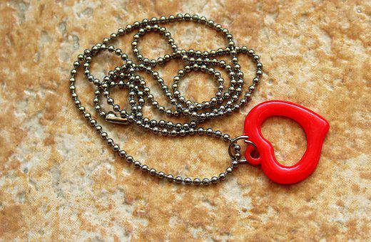 Heart, Ornament, Jewelry, Chain, Red Heart, Romantic