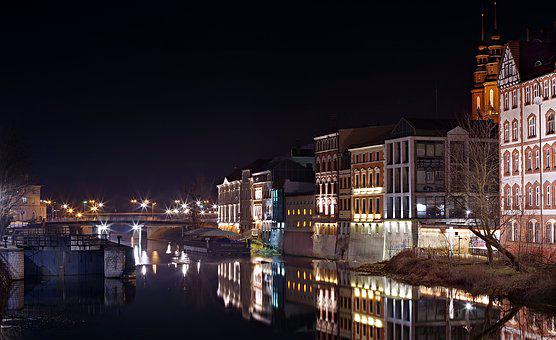 River, City, Night, Townhouses, Opole, Architecture