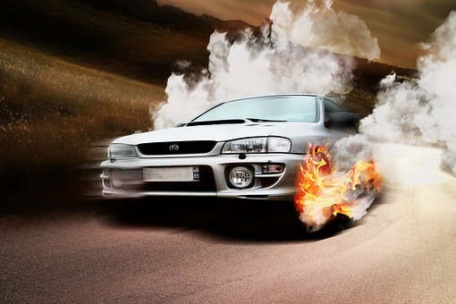 Car, Wheels, Fire, Subaru, Impreza, Gt, Flames, Brule