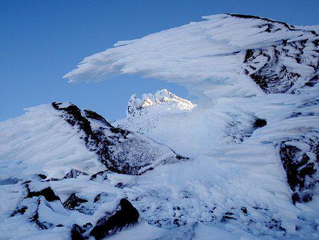 Mountains, The Foot Of The Volcano, Winter, Frost, Snow