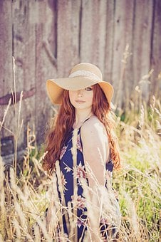 Nature, Beautiful, Summer, Hat, Outdoors, Young, Woman