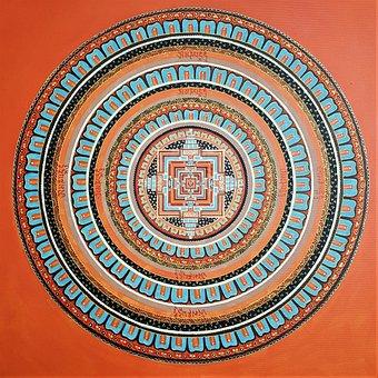 Mandala, Art, Painting, Acrylic, Orange, Circle