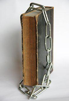 Old, Antique, Book, Bible, Steel, Chain, Closed