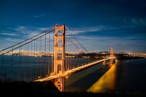 Bridge, Suspension Bridge, Water, Sky, Architecture