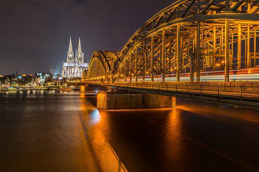 Bridge, River, Waters, Travel, City, Rhine, Cologne