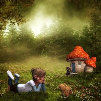 Girl, Child, Cat, Mouse, Mushroom House, Forest, Meadow