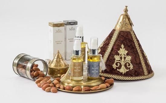 Gold, Traditional, Argan, Oils, Cosmetics, Bottles