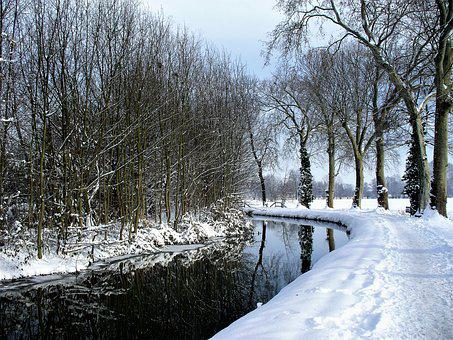 France, Strasbourg, Channel, Winter, Snow, Cold, Frozen