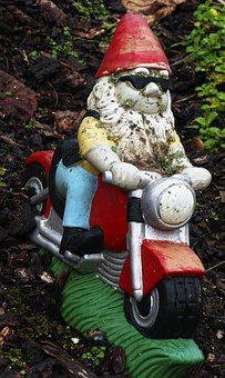 Garden Gnome, Motorcycle, Dwarf, Imp, Fabric, Weathered