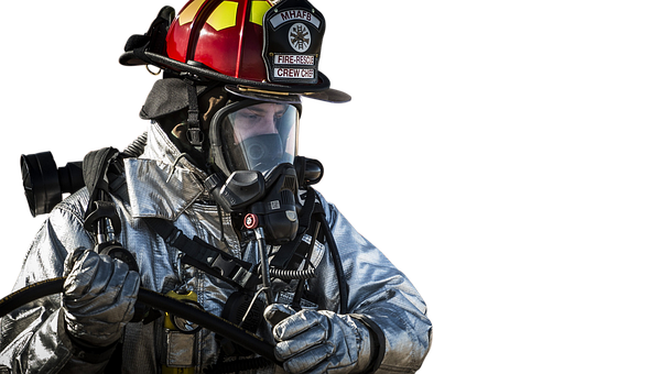 Isolated, Firefighter, Fireman, Helmet, Emergency