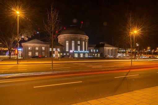 Road, Dusk, Illuminated, Horizontal, Cologne, Deutz